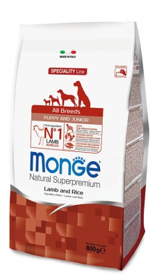 MONGE SPECIALITY LINE PUPPY & JUNIOR ALL BREEDS AGNELLO & RISO 800 GR.