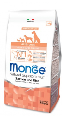 MONGE SPECIALITY LINE PUPPY & JUNIOR ALL BREEDS SALMONE & RISO 2,5 KG.
