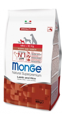 MONGE SPECIALITY LINE PUPPY & JUNIOR MINI AGNELLO & RISO 800 GR.